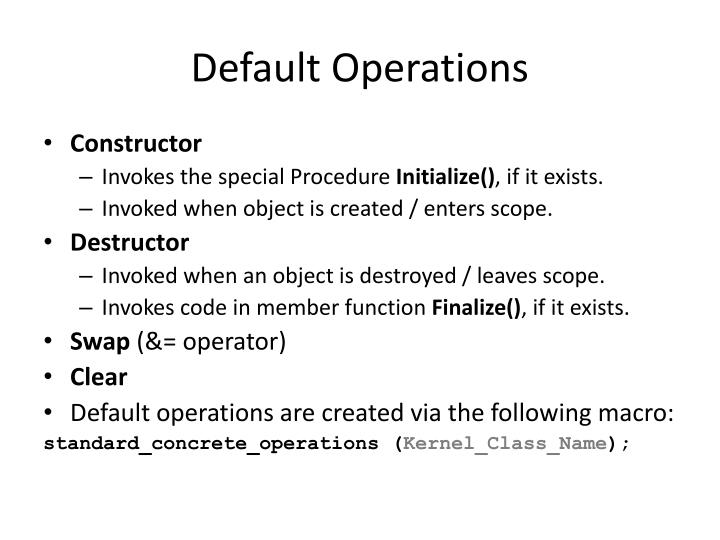 Default Operations