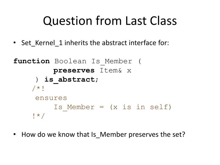 Question from Last Class