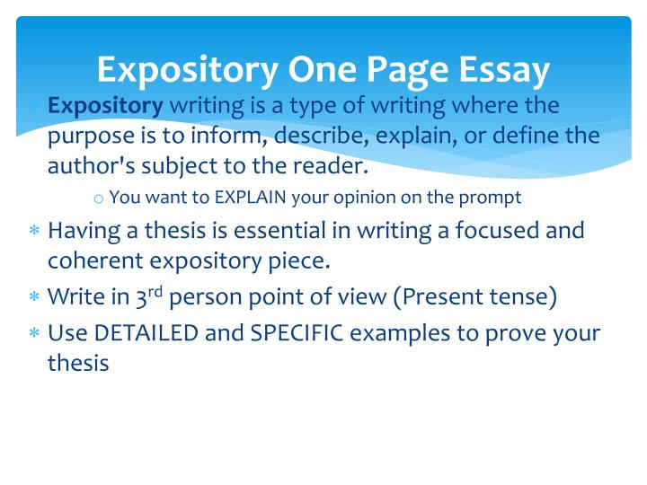 define expository essay writing Let`s start with what is the expository essay expository writing refers to a  straightforward essay in which a writer should explain a particular phenomenon  or a.
