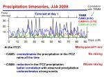 precipitation timeseries jja 20081