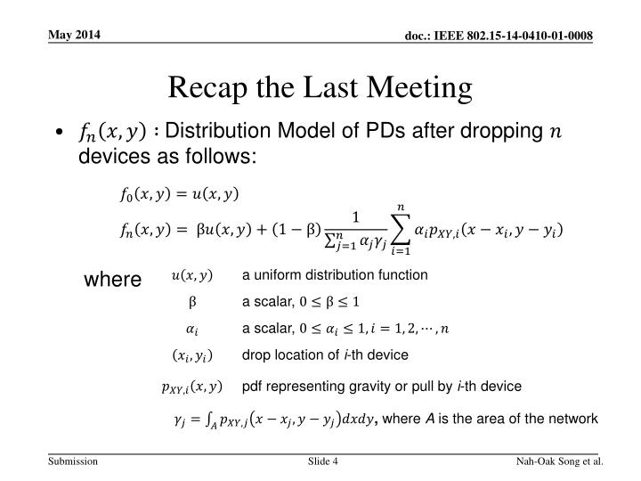 Recap the Last Meeting