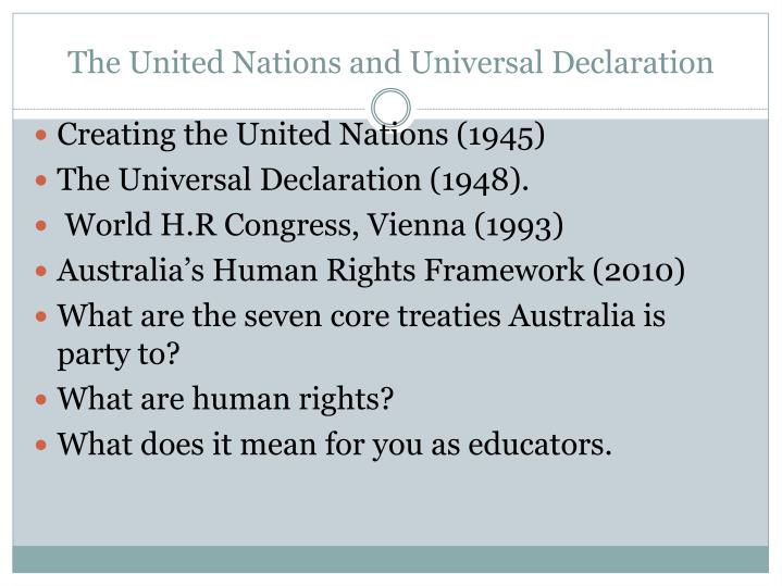 The united nations and universal declaration