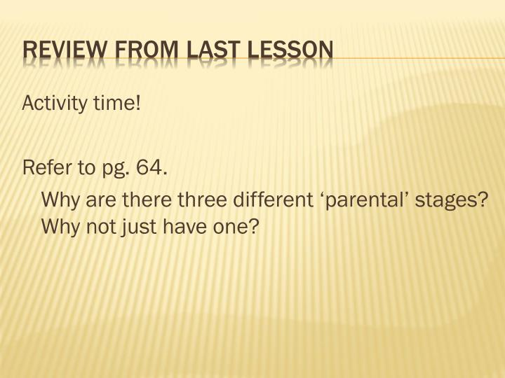 Review from last lesson