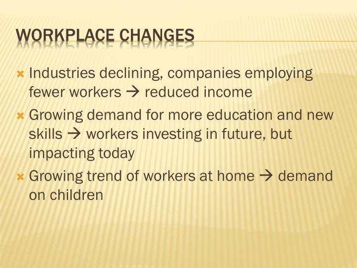 Industries declining, companies employing fewer workers