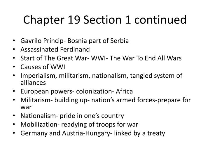 Chapter 19 section 1 continued