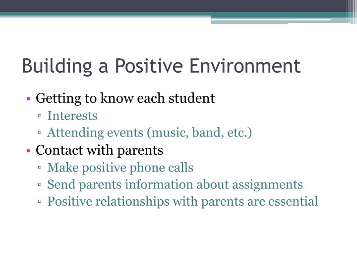 Building a Positive Environment