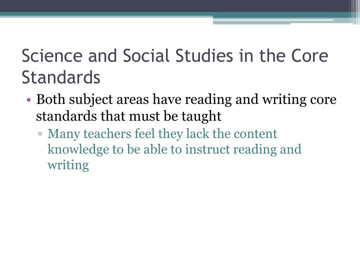 Science and Social Studies in the Core Standards