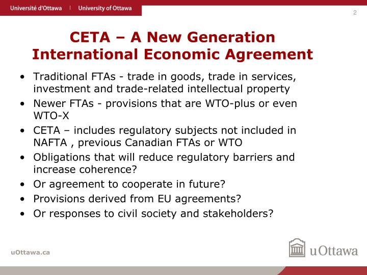 Ceta a new generation international economic agreement