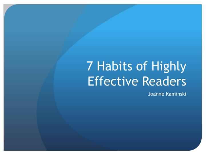 7 habits of highly effective readers n.
