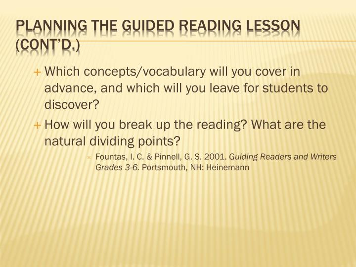 Which concepts/vocabulary will you cover in advance, and which will you leave for students to discover?