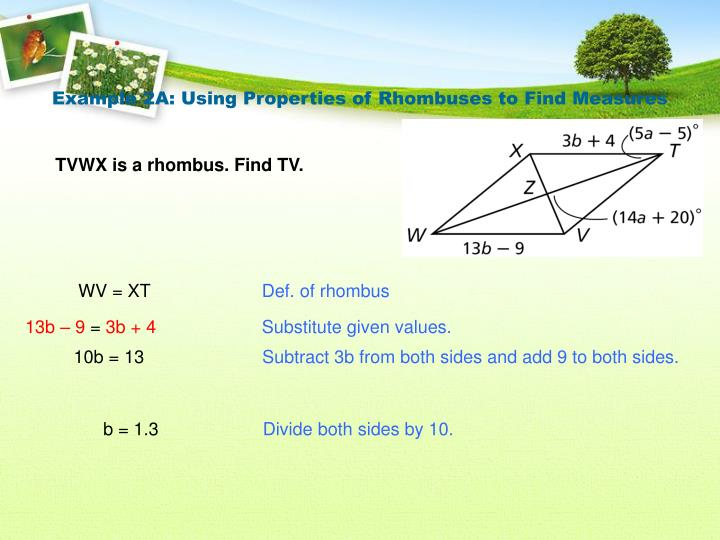 Example 2A: Using Properties of Rhombuses to Find Measures