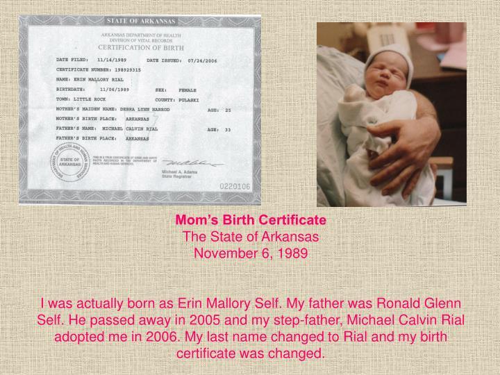 Mom's Birth Certificate
