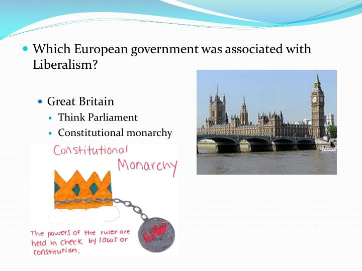 Which European government was associated with Liberalism?