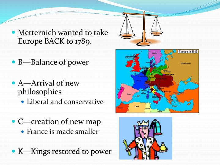 Metternich wanted to take Europe BACK to 1789.