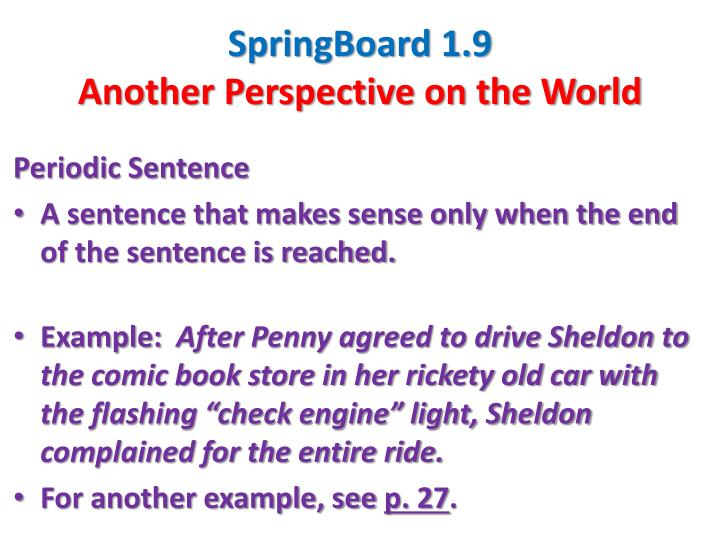 PPT - SpringBoard 1.9 Another Perspective on the World PowerPoint ...