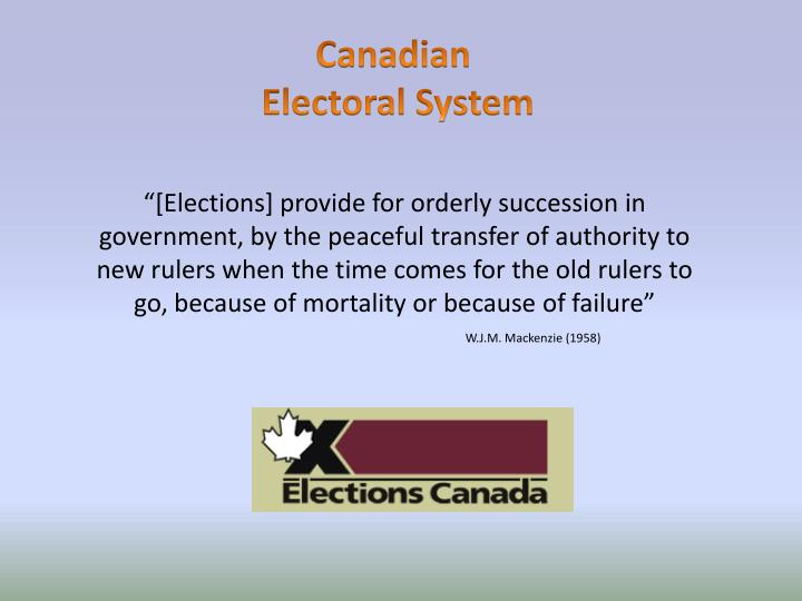 an introduction to the canadian electoral system View essay - jessah pols 2300 essay from soc 2700 at university of guelph jenny essah 0931631 why canada needs to reform its electoral system introduction should the canadian electoral system be.