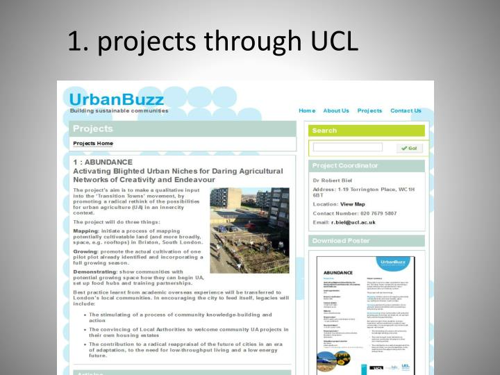 1 projects through ucl