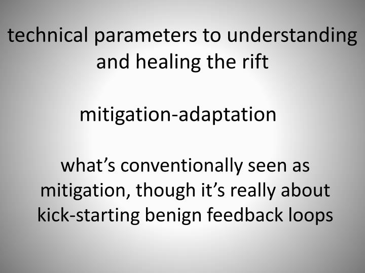technical parameters to understanding and healing the rift