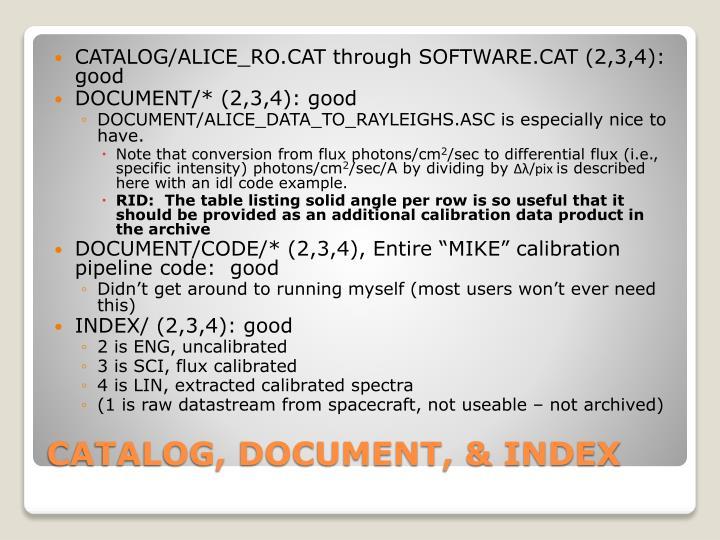 CATALOG/ALICE_RO.CAT through SOFTWARE.CAT (2,3,4):  good