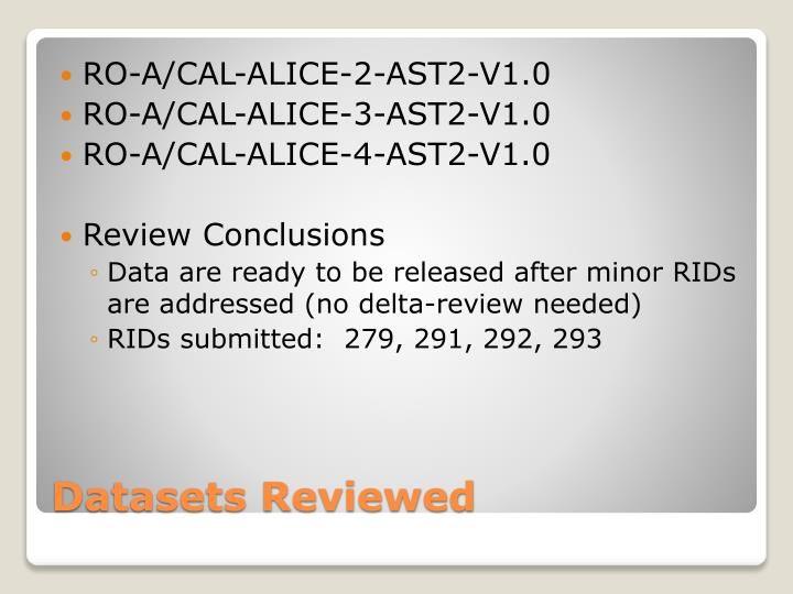 Datasets reviewed