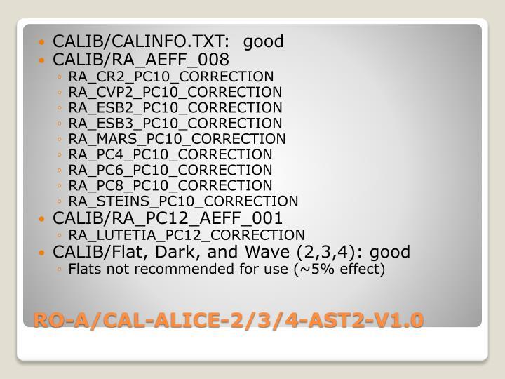 CALIB/CALINFO.TXT:  good