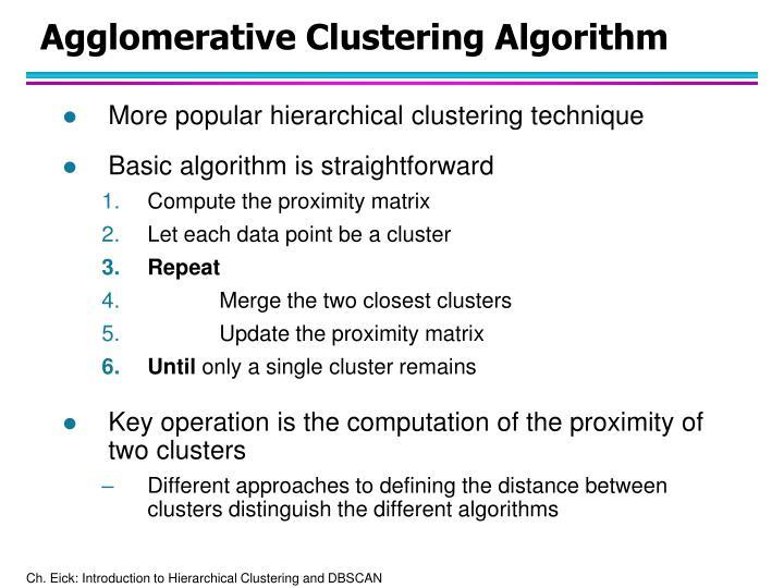 Agglomerative clustering algorithm