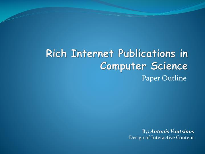 computer research paper publication This is a list of important publications in computer science, organized by field most file-system research since this paper has been influenced by it.