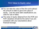 firm value to equity value