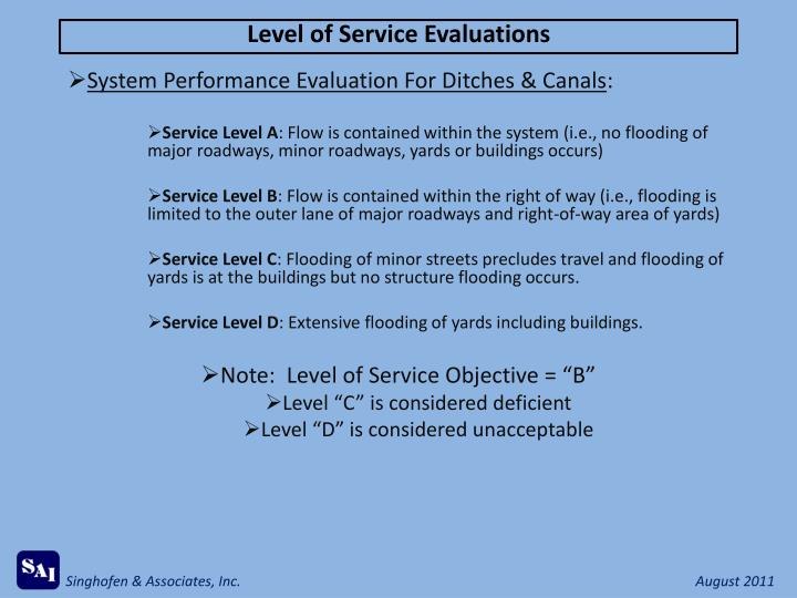 Level of Service Evaluations