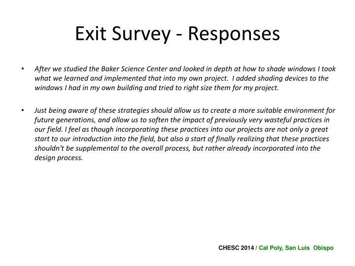 Exit Survey - Responses