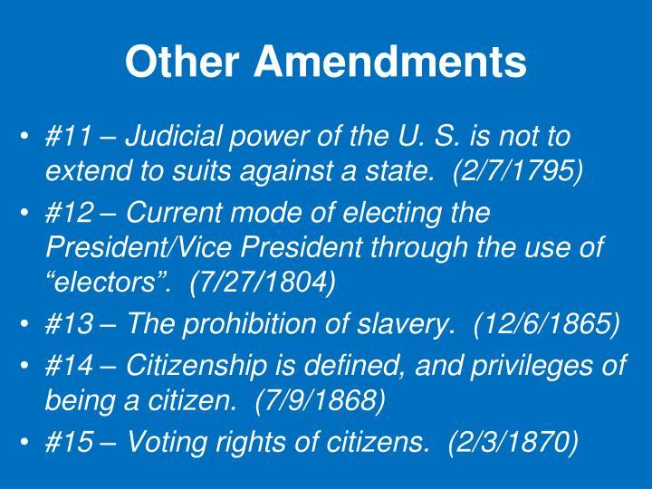 Other Amendments