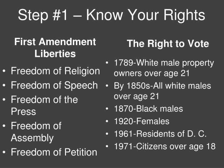 Step #1 – Know Your Rights