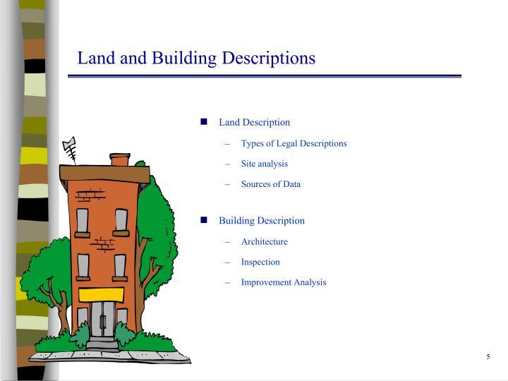 Land and Building Descriptions