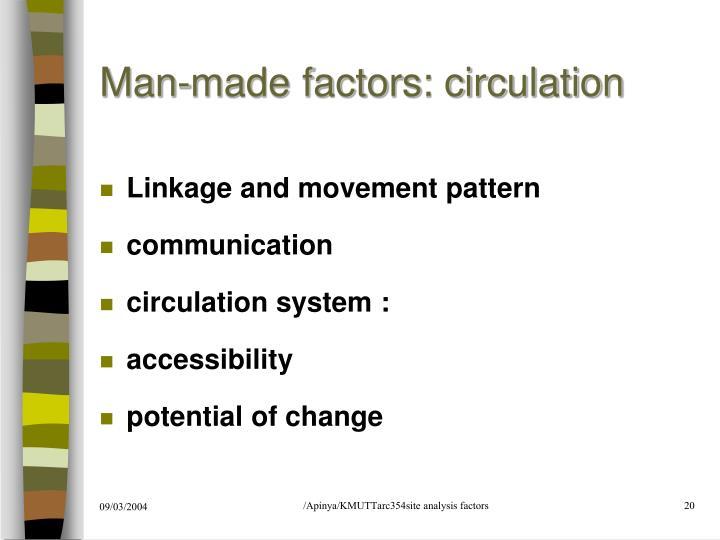 Man-made factors: circulation