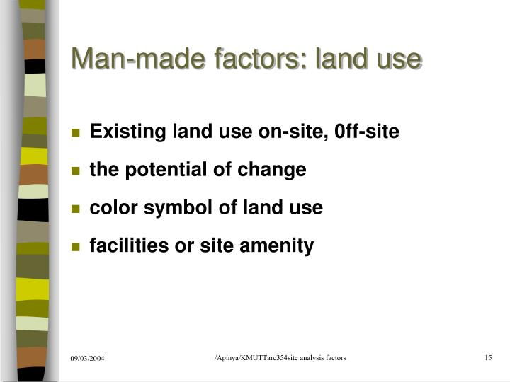 Man-made factors: land use