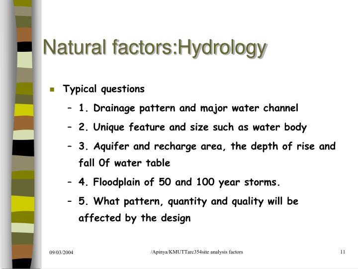 Natural factors:Hydrology