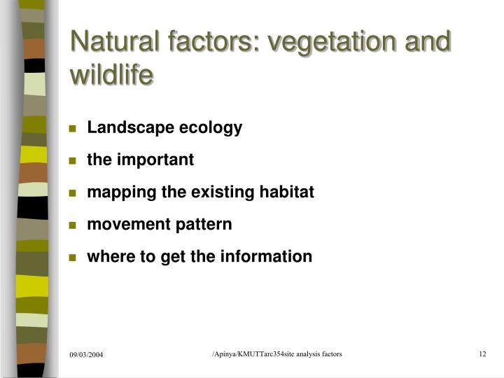 Natural factors: vegetation and wildlife