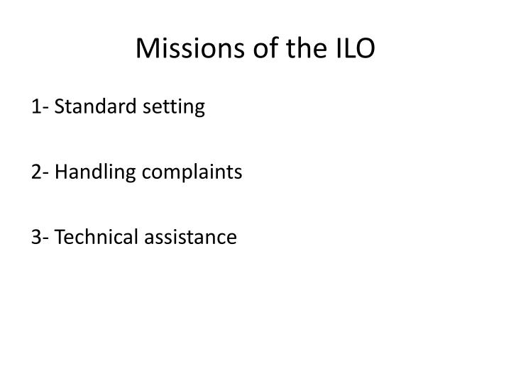 Missions of the ILO
