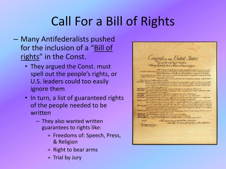 Call For a Bill of Rights