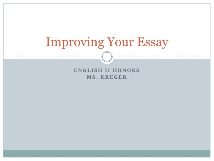 improving your essay n.