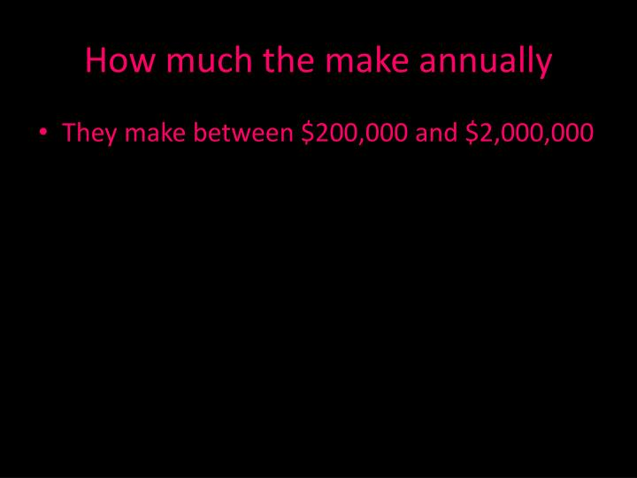 How much the make annually