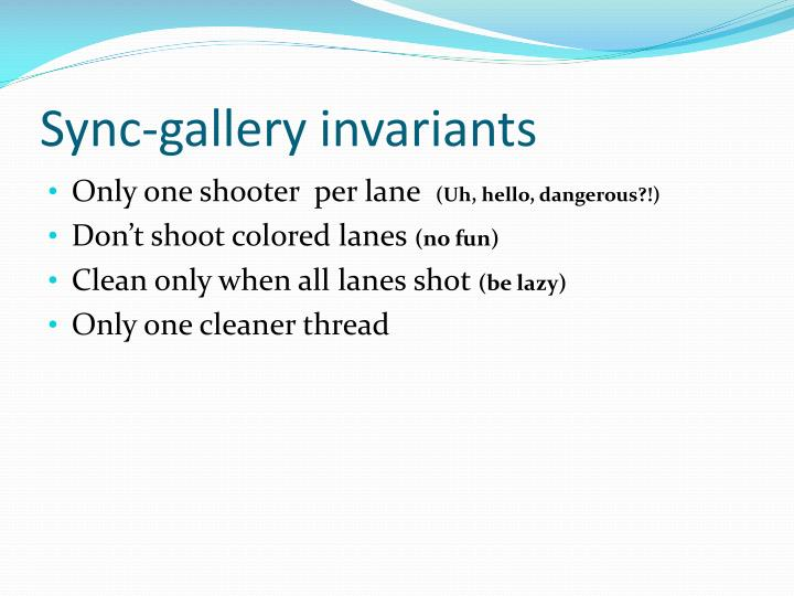 Sync-gallery invariants