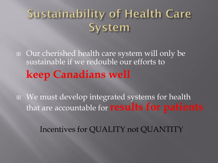 Sustainability of health care system