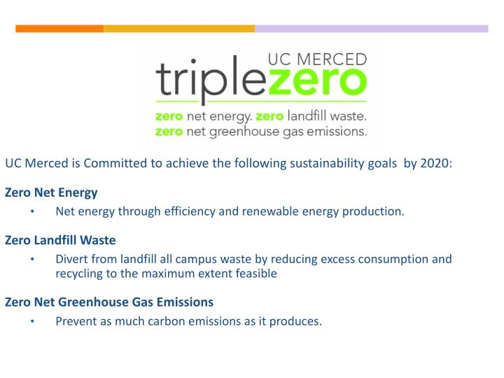 UC Merced is Committed to achieve the following sustainability goals  by 2020: