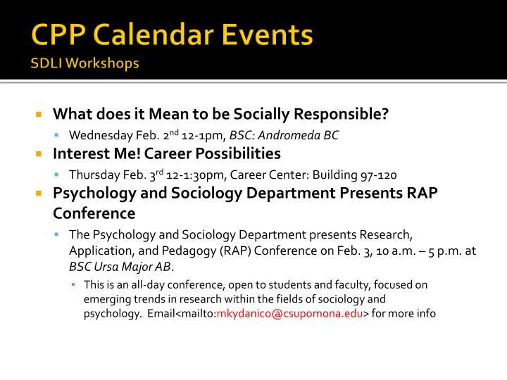 CPP Calendar Events