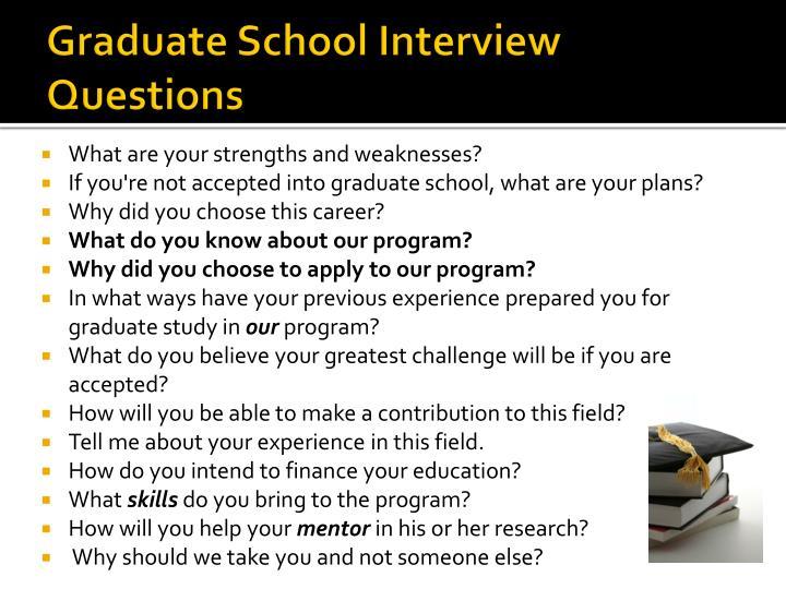 Graduate School Interview Questions