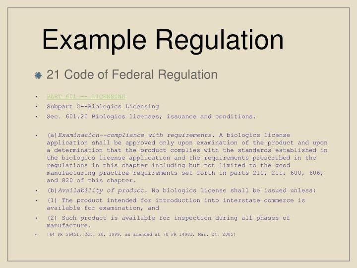 Example Regulation