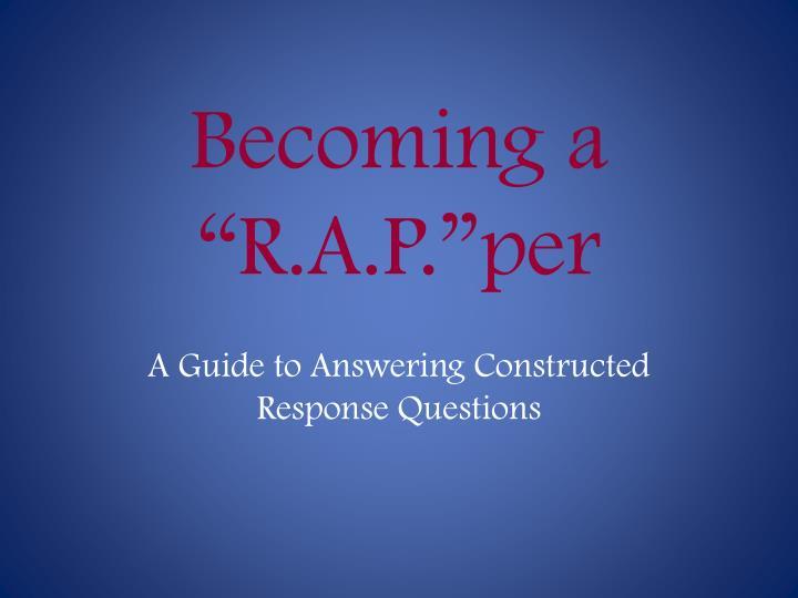 Becoming a r a p per