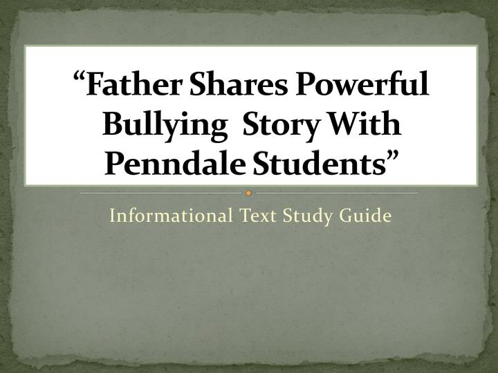 Father shares powerful bullying story with penndale students