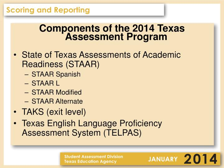 Components of the 2014 Texas Assessment Program